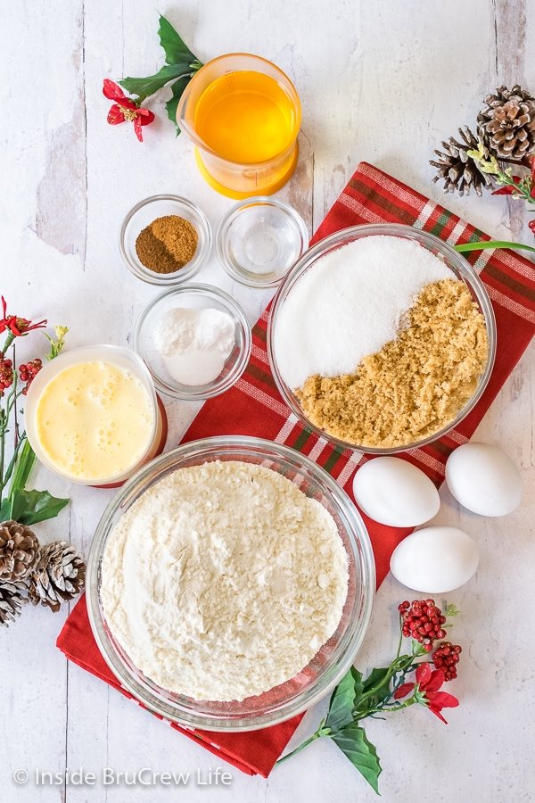 Overhead picture of all the ingredients needed to make a homemade eggnog bundt cake