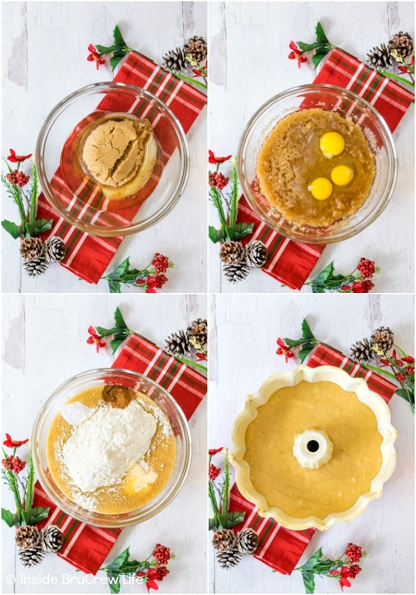 Four pictures showing how to make an eggnog bundt cake collaged together
