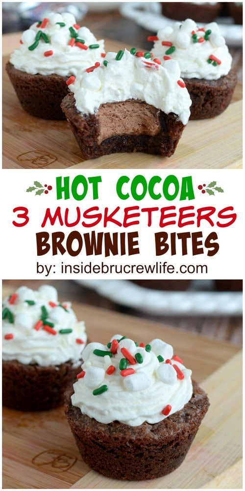 Mini brownie bites with a mini 3 Musketeers bar hidden in the center.
