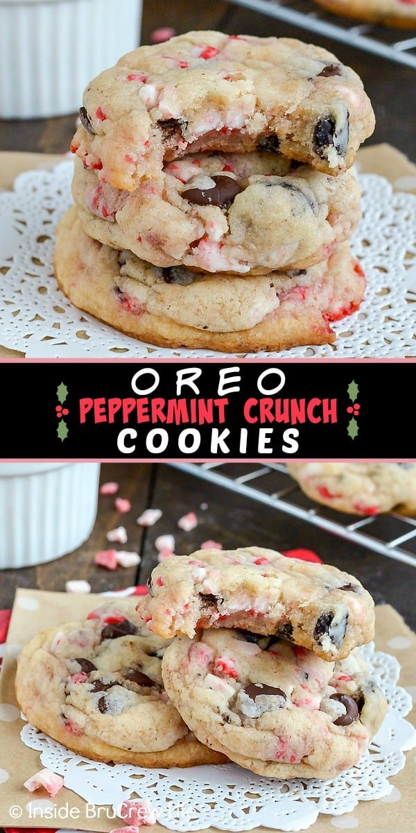 Oreo Peppermint Crunch Cookies - these easy cookies and cream cake mix cookies are loaded with peppermint bits and Oreo cookie chunks. Try this recipe for Christmas cookie exchanges and parties. #cookies #peppermint #cookiesandcream #holiday #christmas #cakemixcookies
