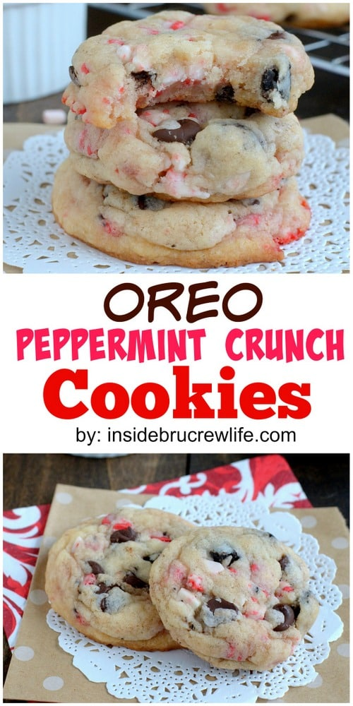 Oreo Peppermint Crunch Cookies - these easy cookies are loaded with peppermint bits and cookie chunks. Great recipe for Christmas cookie trays!