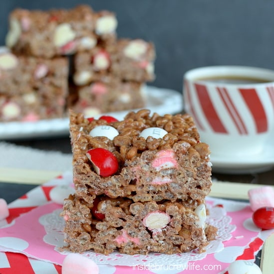 Peppermint Mocha Rice Krispie Treats from www.insidebrucrewlife.com - a fun coffee house twist to the classic krispie treat