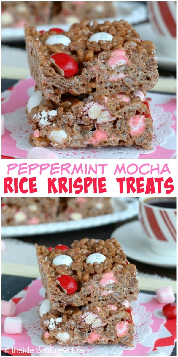Coffee and peppermint give a fun holiday twist to these no bake Peppermint Mocha Rice Krispie Treats.  They are an easy dessert for the cookie trays.