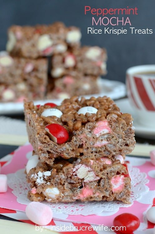 Adding peppermint candies and coffee makes these Peppermint Mocha Rice Krispie Treats a fun no bake holiday dessert.