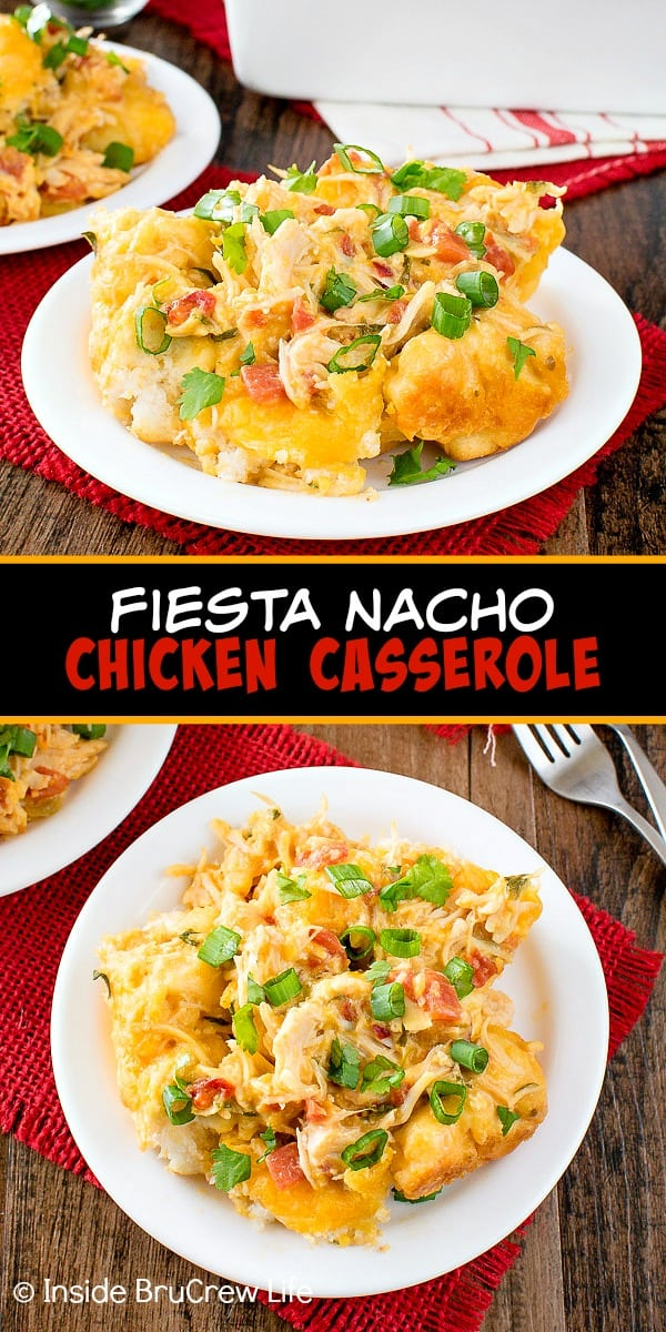 Fiesta Nacho Chicken Bake - cheese, veggies, and biscuits make this chicken casserole taste amazing. Make this easy recipe for a quick and easy dinner on chilly nights.