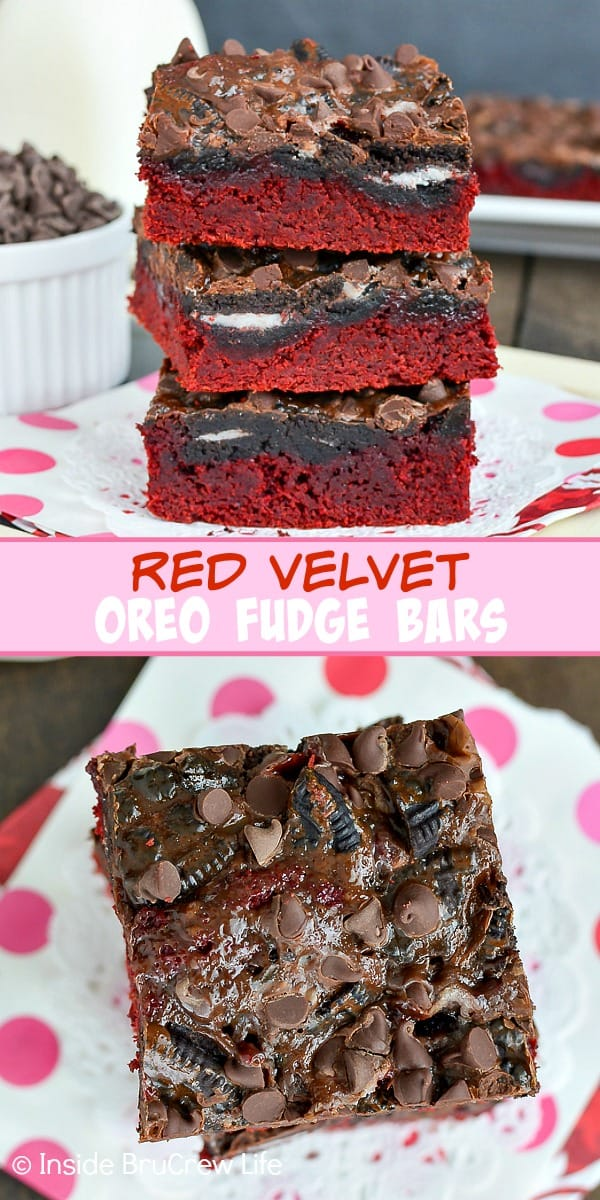 Red Velvet Oreo Fudge Bars - chocolate chips, hot fudge, and Oreo cookies add a great chocolate flair to these easy red velvet bars. Great recipe for Valentine's day parties. #redvelvet #cakebars #oreo #fudge #chocolate #valentinesday