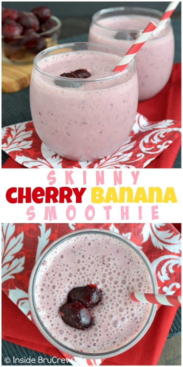 Adding yogurt and protein powder makes this cherry banana smoothie a great healthy meal option!