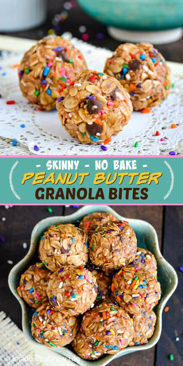 Skinny Peanut Butter Granola Bites - these easy no bake granola bites are a delicious and healthy snack to indulge in. Easy recipe to make for when your sweet tooth wants a treat! #granolabites #energybites #granolaballs #healthy #nobake #peanutbutter