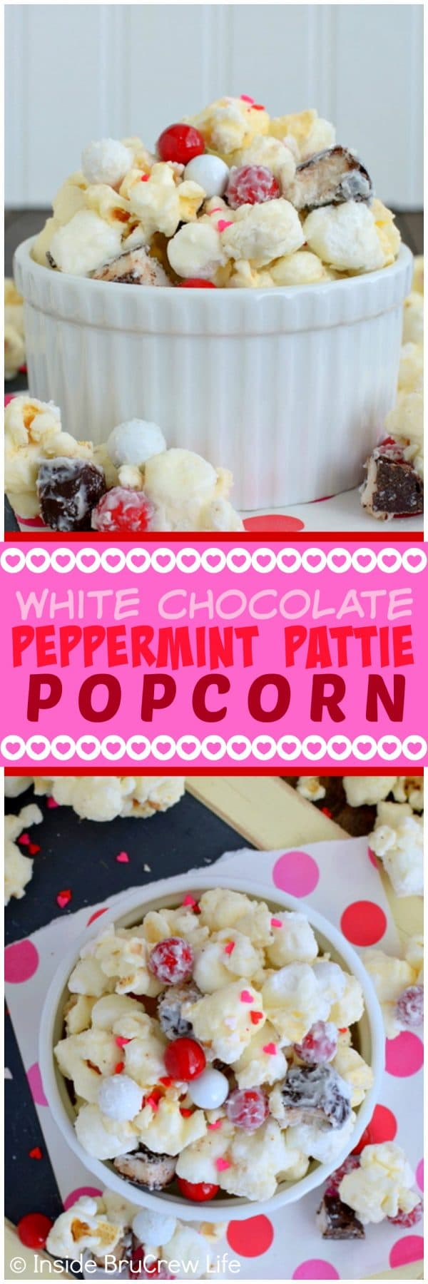 White Chocolate Peppermint Pattie Popcorn - sweet snack mix loaded with marshmallows, peppermint candies, and sprinkles!