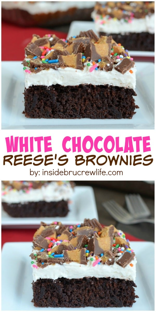 White chocolate and Reese's make these brownies worth every single bite. They are perfect for any party.