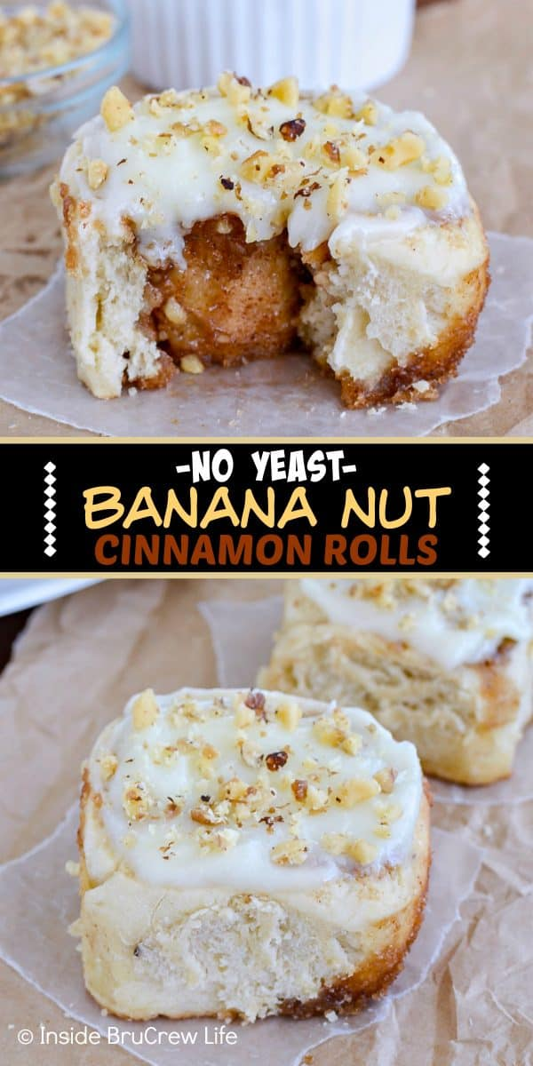 Banana Nut Cinnamon Rolls - these homemade no yeast sweet rolls are loaded with banana, cinnamon, and nuts. The soft fluffy rolls are an easy recipe to make for breakfast! #banana #noyeast #cinnamonrolls #breakfast #sweetrolls #bananabreadrolls