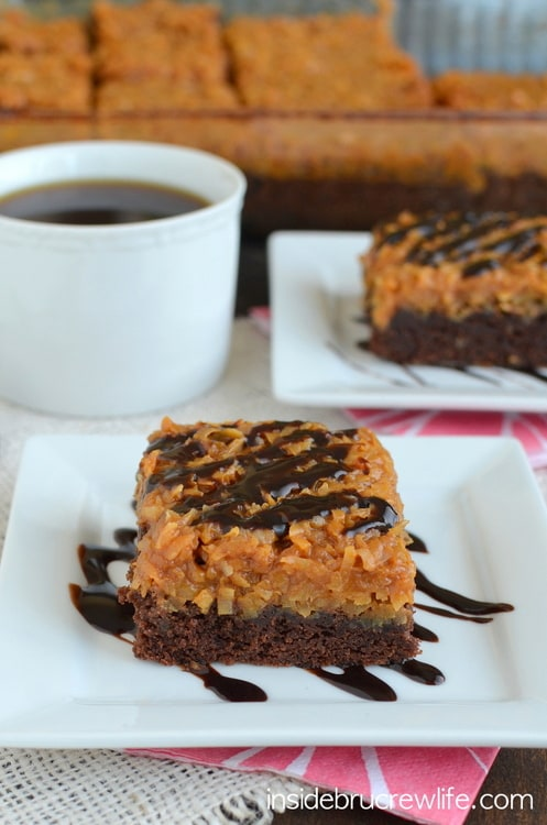 These homemade brownies with a caramel coconut topping will have you going back for another piece in a hurry!