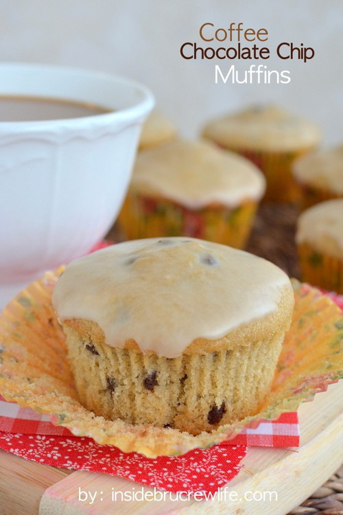 These soft and fluffy chocolate chip muffins have a hit of caffeine from coffee in the muffins and in the glaze.