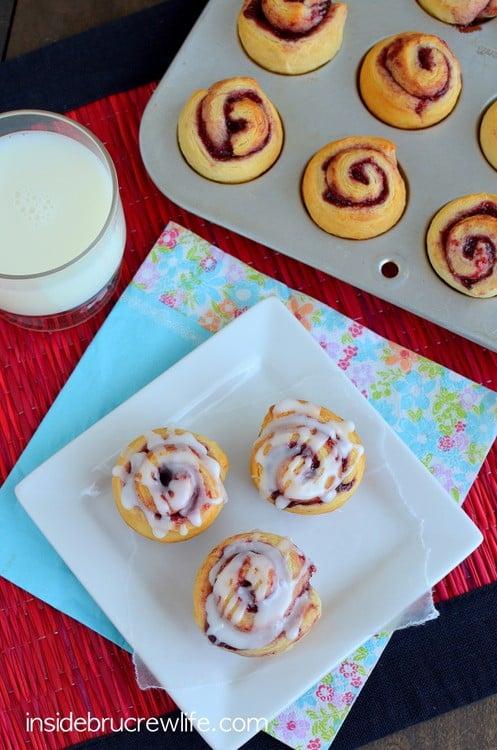 Glazed Triple Berry Rolls - berry preserves turns these crescent rolls into a fancy breakfast treat