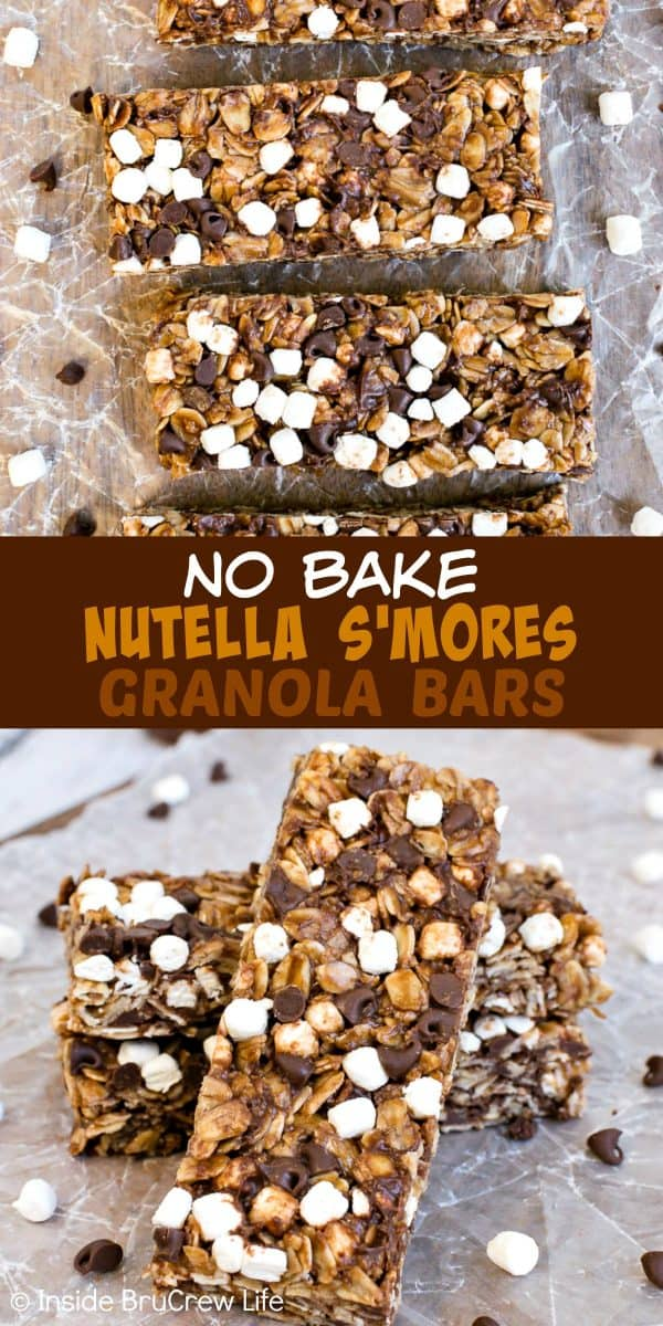 No Bake Nutella S'mores Granola Bars - these homemade chocolate granola bars have lots of mini marshmallows and more chocolate inside. Perfect recipe to make for breakfast or after school snacks. #granolabars #homemade #smores #nutella #snackbars #easy #recipe