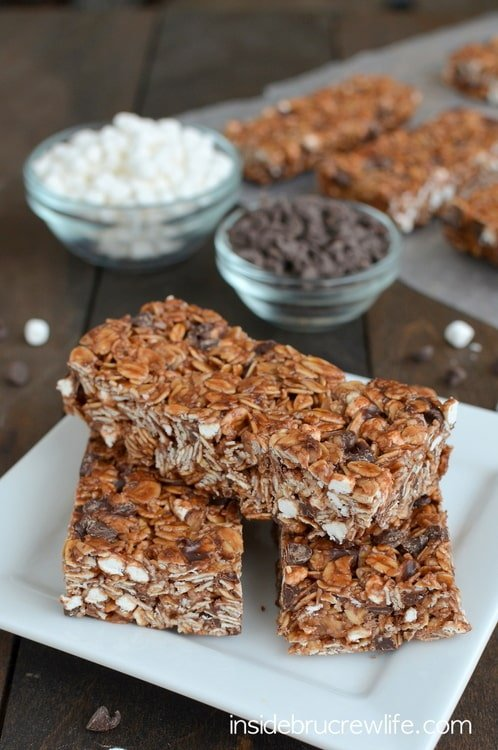 No Bake Nutella S'mores Granola Bars - easy no bake granola bars that are perfect for breakfast or as after school snacks