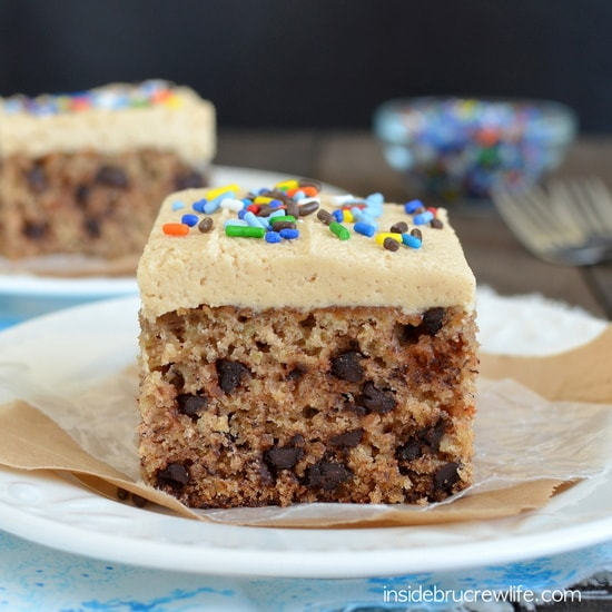 Peanut Butter Chocolate Chip Banana Cake - this delicious banana cake will disappear before you know it