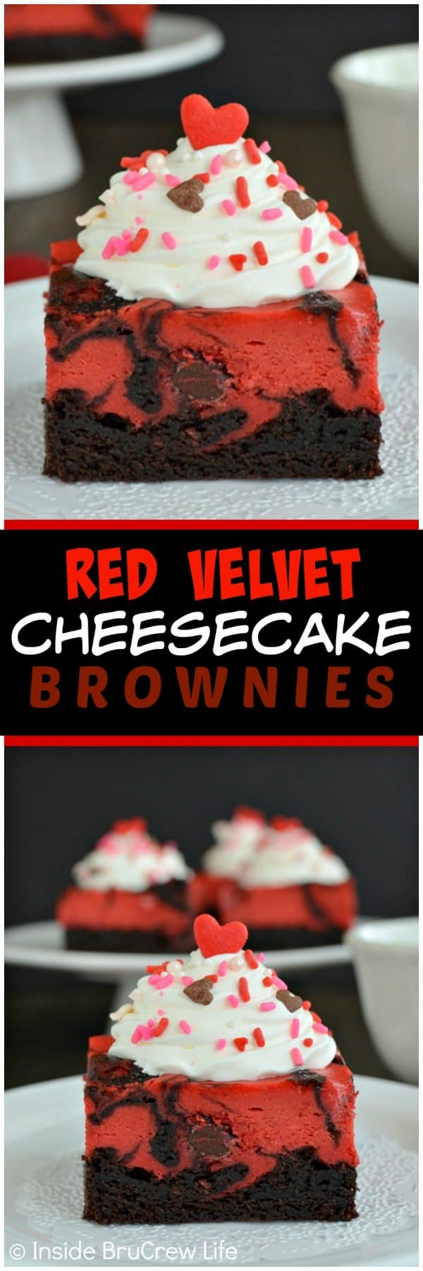 Red Velvet Cheesecake Brownies - swirls of fudge brownies and red velvet cheesecake makes a bright and fun dessert. Easy recipe to make for parties! #redvelvet #cheesecake #brownies #valentine #valentinesday #dessert