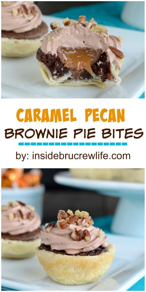 Mini brownie pies with a hidden caramel center.  These are amazing!