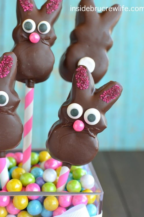Chocolate Covered Marshmallow Bunnies - chocolate dipped marshmallow bunny peeps make a cute Easter treat.