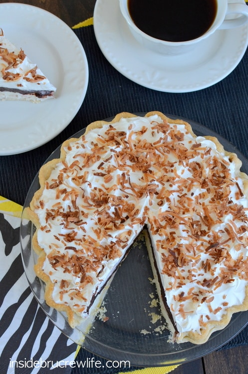 Coconut Fudge Pie - easy no bake coconut cheesecake topped with chocolate fudge pudding. This is one delicious pie!