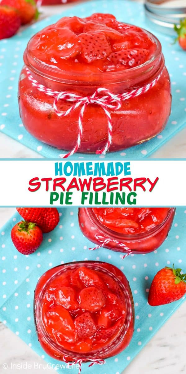 Homemade Strawberry Pie Filling - fresh strawberries and a few other ingredients is all you need to make this delicious strawberry pie filling. Make this easy recipe for pastries, pies, and cakes! #piefilling #strawberry #homemade #fruit