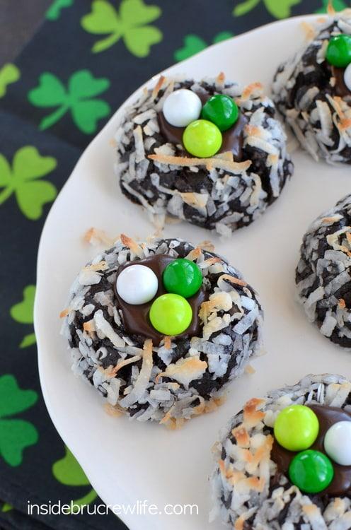 Irish Cream Chocolate Coconut Cookies - chocolate coconut cookies with a creamy Irish Cream chocolate center