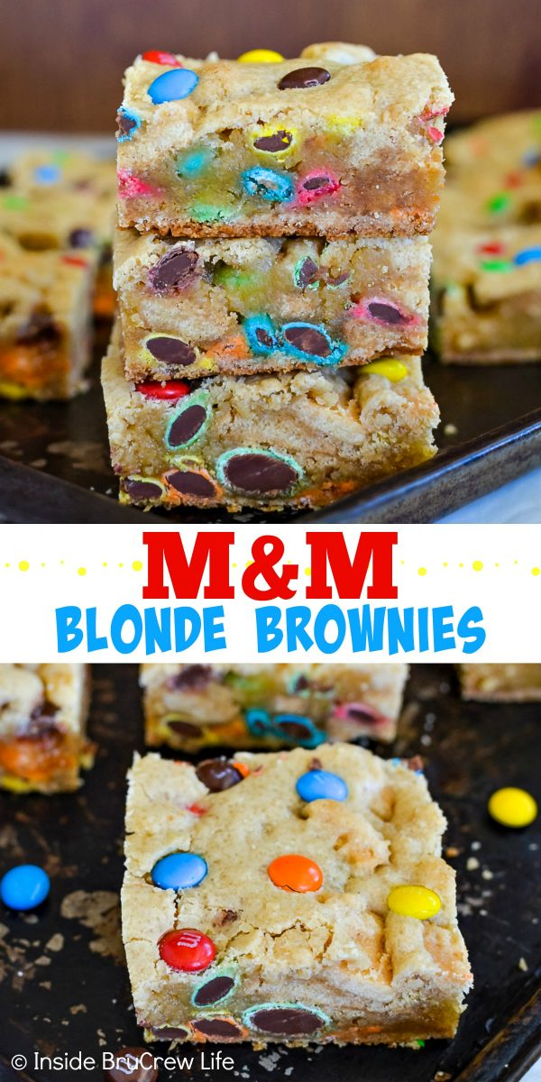 M&M Blonde Brownies - these soft and chewy cookie bars are loaded with lots of M&M candies! Make this easy recipe for any party, picnic, or bake sale. They are also perfect for after school snacks or lunch boxes! #blondebrownies #candy #easydessert #cookiebars #bakesaletreats