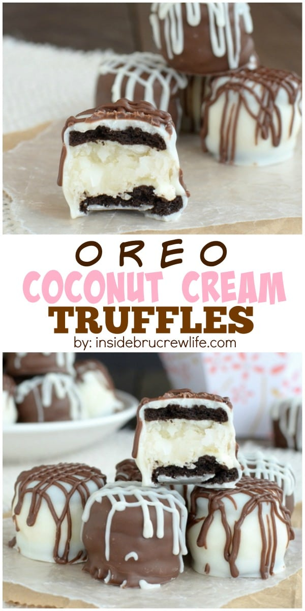 Homemade coconut cream truffles and mini Oreo cookies are dipped in chocolate for a fun Easter treat.