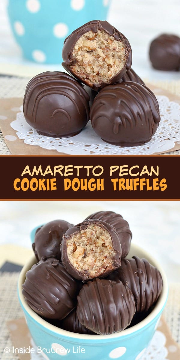 Amaretto Pecan Cookie Dough Truffles - these edible cookie dough bites are loaded with pecan pieces. Easy recipe to make for holiday parties! #nobake #cookiedough #pecan #truffles