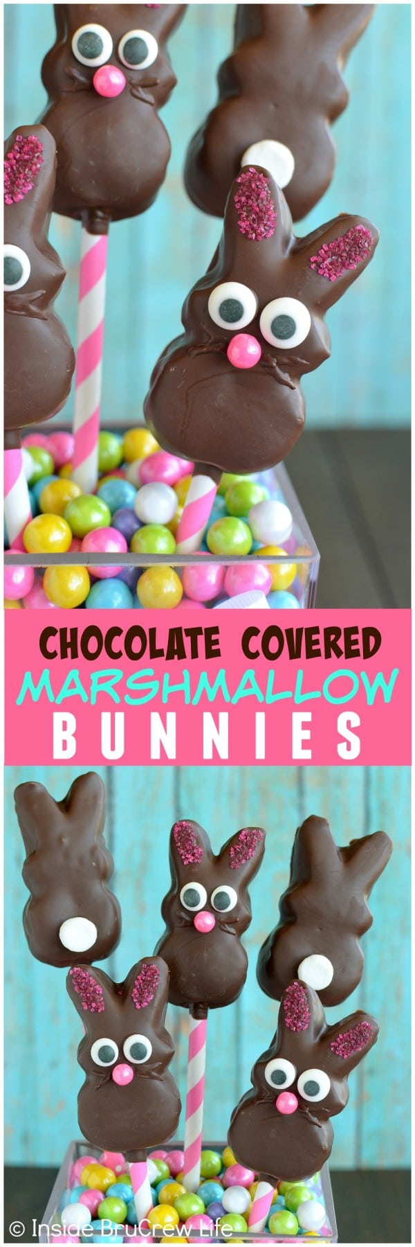 Chocolate Covered Marshmallow Bunnies - dipping marshmallow bunnies in chocolate and adding fun faces with sprinkles and candies makes the cutest no bake treat. Easy dessert recipe to share in Easter baskets or dinner parties! #bunnies #chocolate #nobake #easter #marshmallowpeeps #eastertreats #easterbasket #dessert