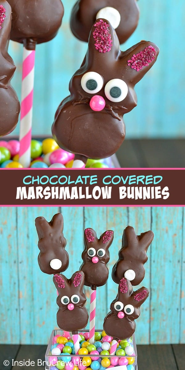 Two pictures of chocolate covered marshmallow bunnies collaged together with a text block
