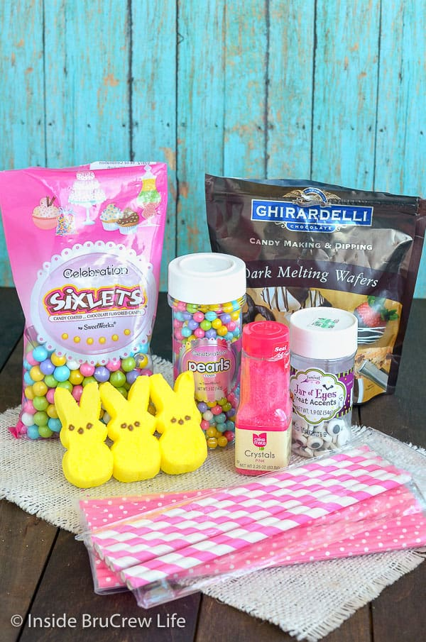 Picture of supplies needed for chocolate covered marshmallow bunnies