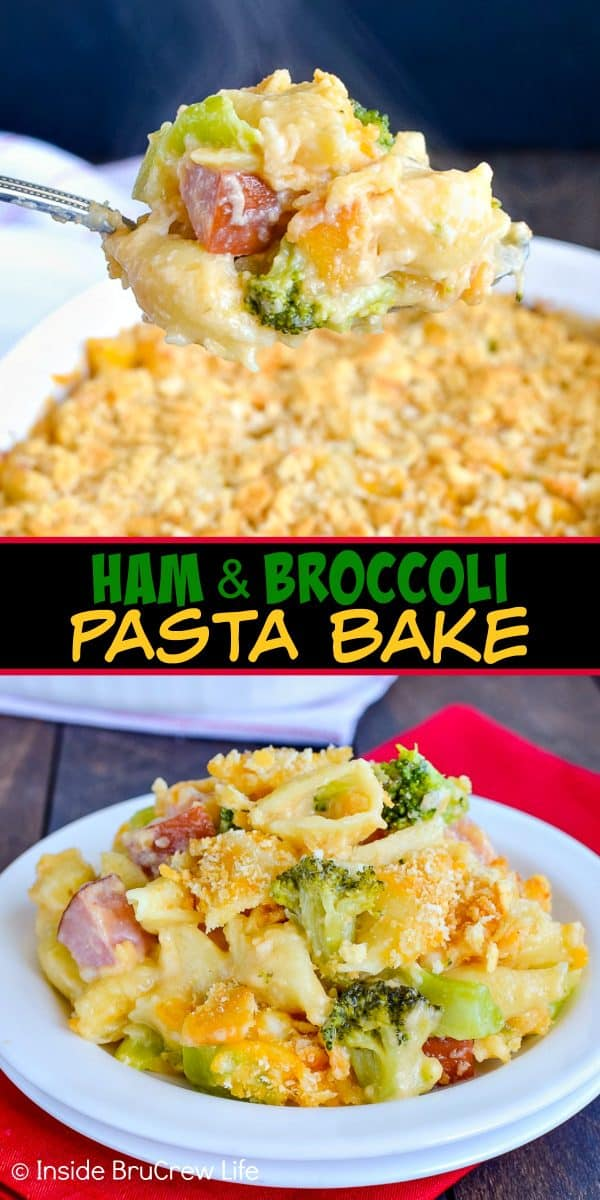 Ham and Broccoli Pasta Bake - this ooey gooey comfort food dinner gets rave reviews from everyone. Great dinner recipe to use up leftover ham. #ham #pasta #easydinner #recipe #broccoli #cheese #comfortfood #easydinnerrecipe #cheesypasta