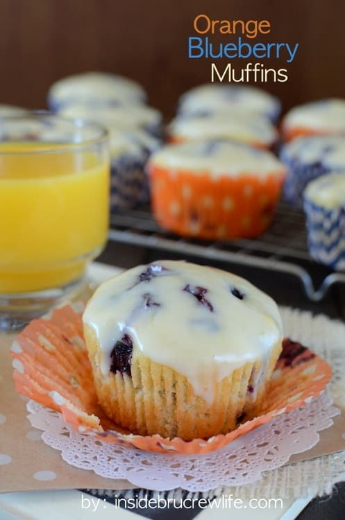 Orange Blueberry Muffins - light delicate orange muffins filled with lots of fresh, juicy blueberry bites