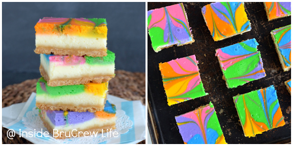 Two pictures of rainbow vanilla cheesecake bars collaged together