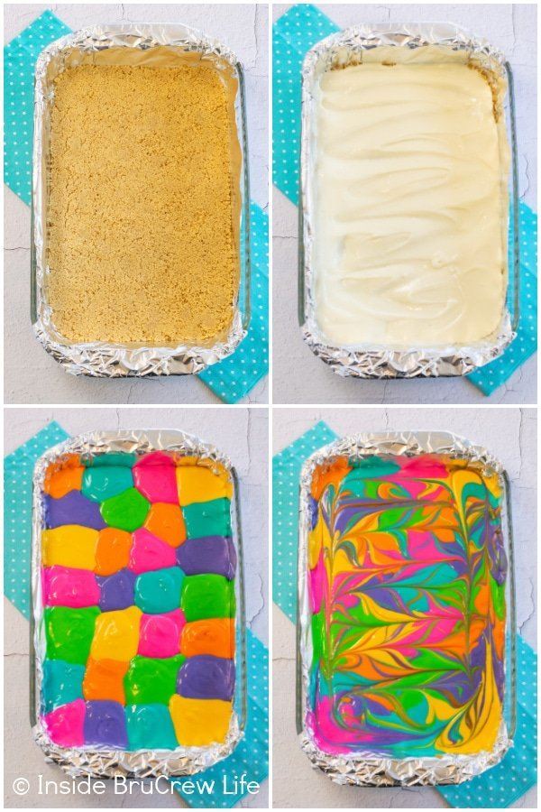 Four pictures collaged together showing how to put the colors on cheesecake bars and swirl them