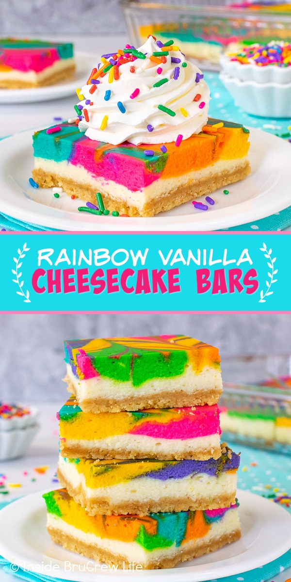 Two pictures of Rainbow Vanilla Cheesecake Bars collaged together with a blue text box