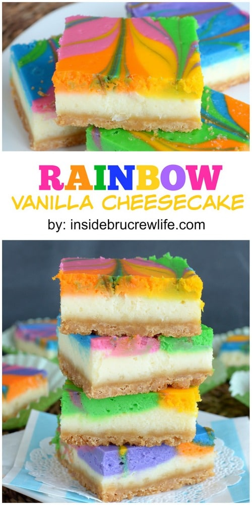 Vanilla cheesecake bars with a fun rainbow swirl. Fun, festive, and perfectly delicious!