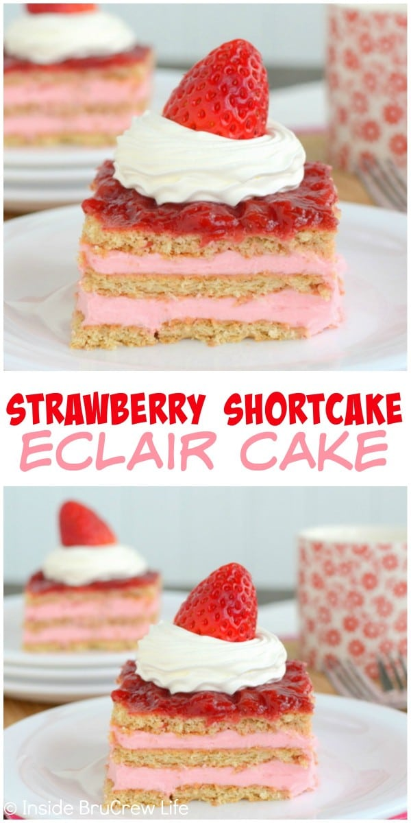Layers of strawberry pudding, graham crackers, and fresh berries make this Strawberry Shortcake Eclair Cake a delicious no bake dessert!