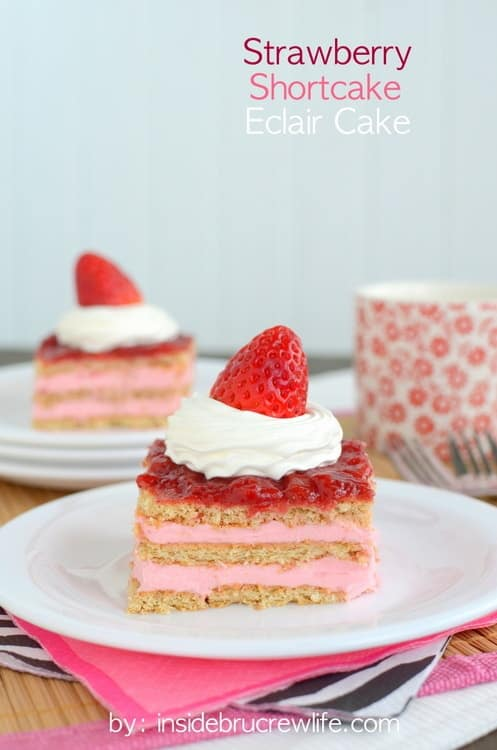 This easy no bake Strawberry Shortcake Eclair Cake is a delicious dessert.