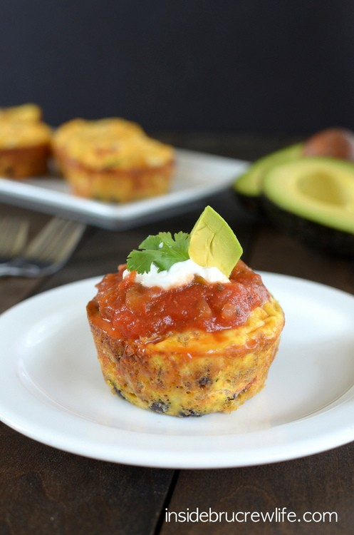 Taco Egg Muffin Cups - taco toppings inside a cute little egg muffin cup makes a delicious breakfast any morning