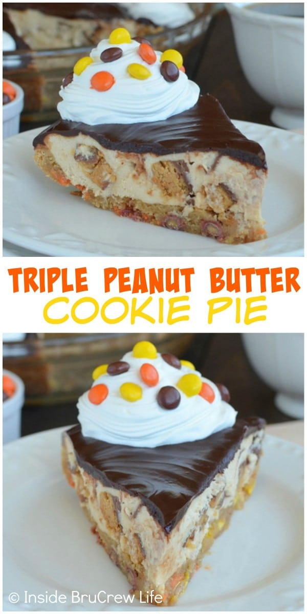 Two pictures of triple peanut butter cookie pie collaged together with a white text box