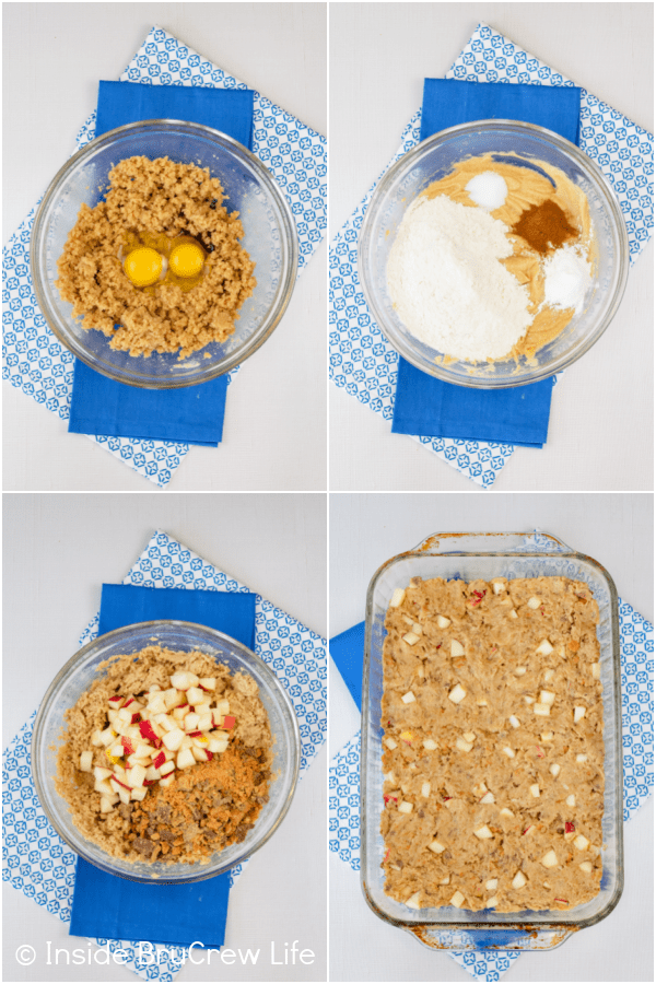Four pictures collaged together showing how to make the batter for apple blondies.