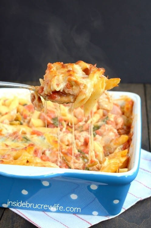 Chicken Sausage Pasta Bake - meat and pasta topped with lots of ooey, gooey cheese makes a comfort food dinner recipe in under 40 minutes