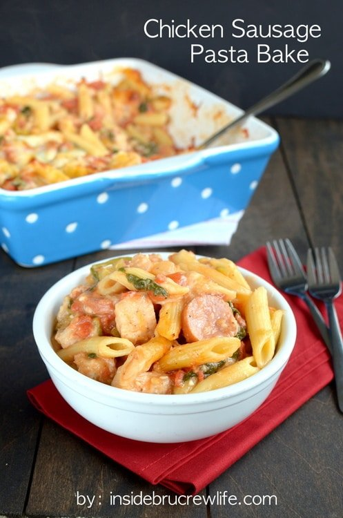 Chicken Sausage Pasta Bake - this easy pasta is loaded with meat, veggies, and cheese. Easy dinner recipe for busy nights.