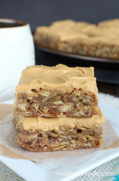 These oatmeal bars are filled with Twix candy bars and topped with a coffee frosting.  They never last long in our house!