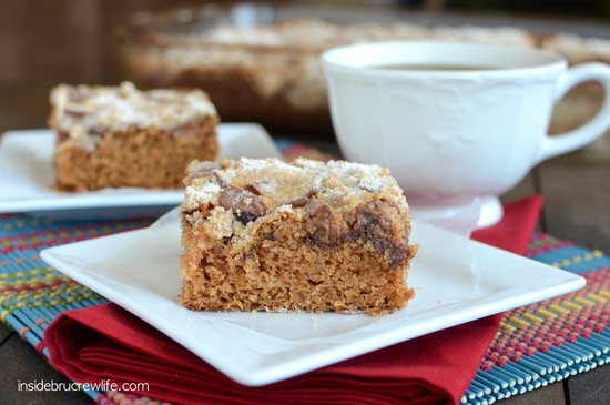 Peanut Butter Cup Coffee Cake - an easy spice crumble cake with peanut butter cups baked on top