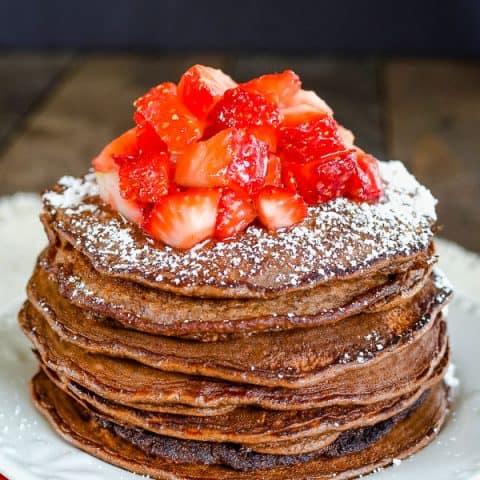 Skinny Chocolate Banana Oatmeal Pancakes
