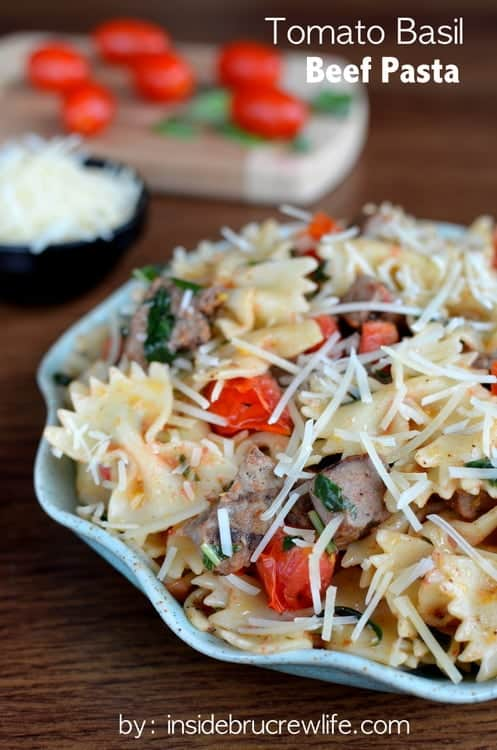Tomato Basil Beef Pasta - cherry tomatoes, basil, and beef makes this pasta dinner a delicious meal in under 30 minutes